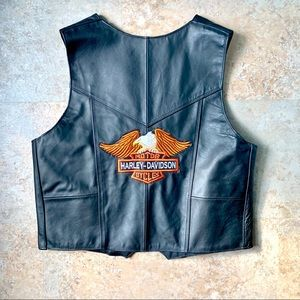 NWT Authentic Harley Davidson black leather vest